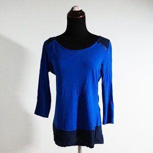 Merona Mixed Blue Long Sleeve Top